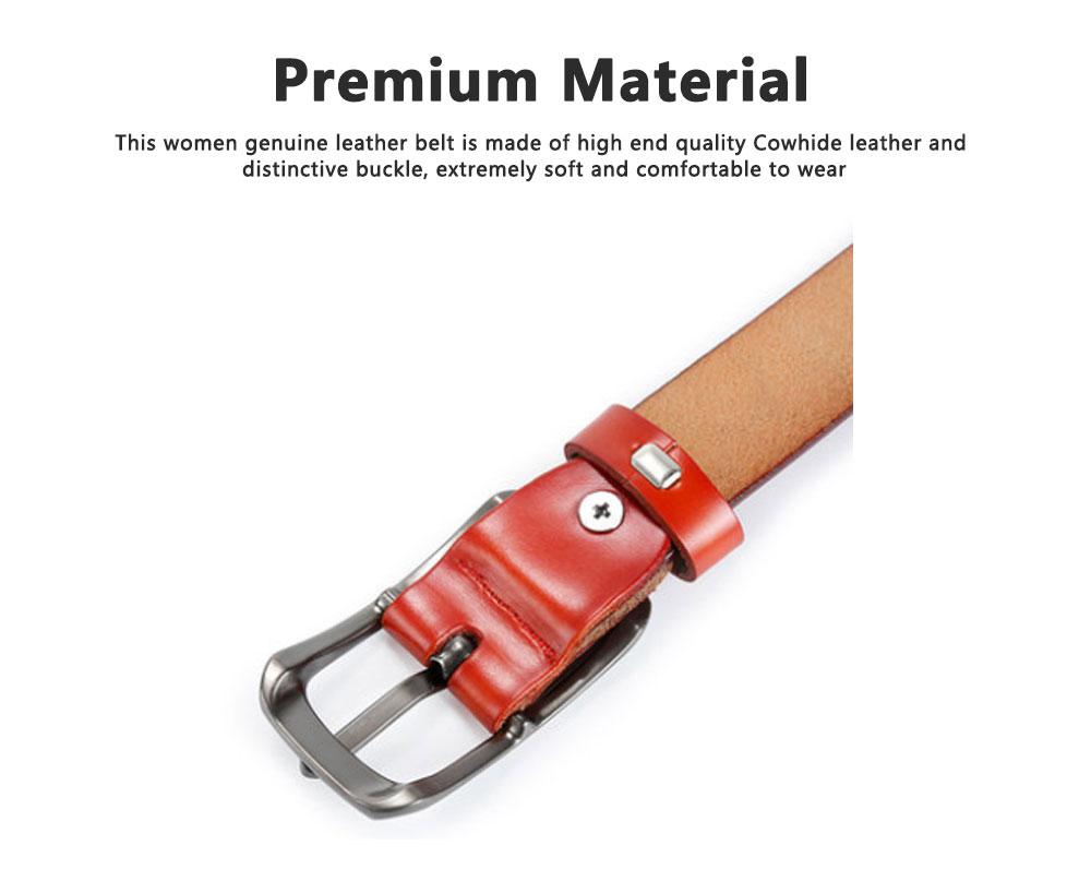 Women Genuine Cowhide Leather Belt Waist Skinny Dress Belts Solid Pin Buckle Belt For Jeans Pants 3