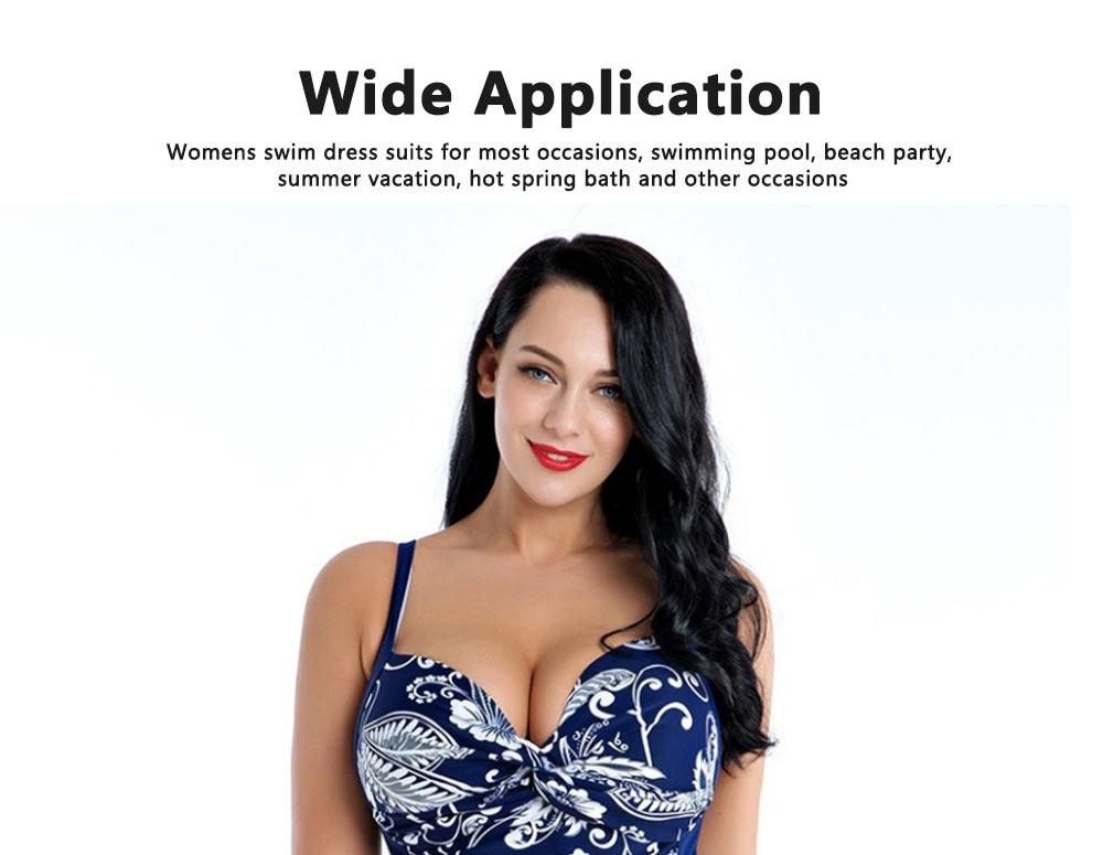 Women Plus Size V-Neck Backless One Piece Skirt Bikini Swimwear Bathing Suit Floral Print Safety Pants Swimsuit 2