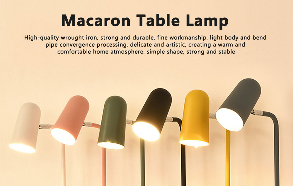 Macaron Table Lamp Durable Iron Desk Light Simple Long Reading Light for Bedroom Dormitory Office Decoration 0