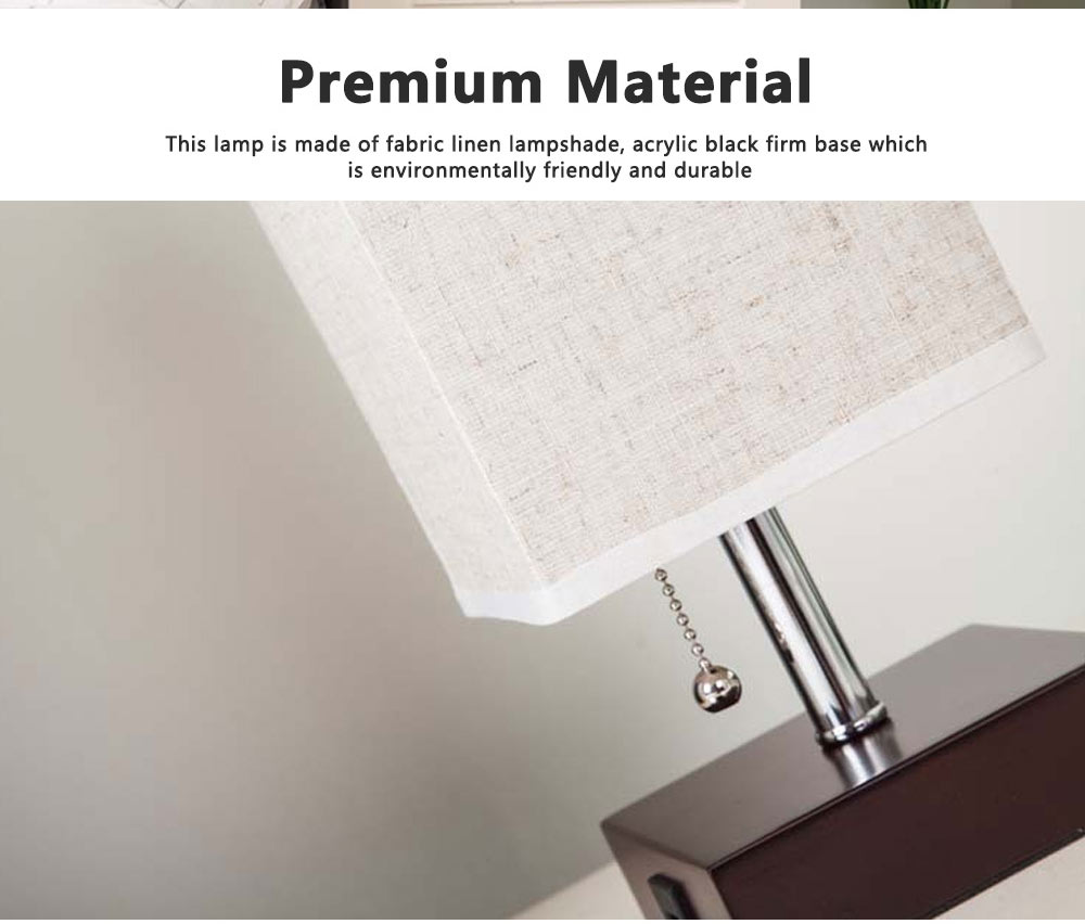 Night Lamp Multifunctional Linen Lampshade Reading Lamp Table Lamp Bedside Lamp with USB Port for Home Decor 3