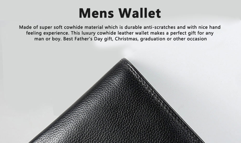 TUCANO Men Wallet Soft Business Genuine Leather Wallets Slim Bifold Top Flip Money Clip Gifts for Men 0