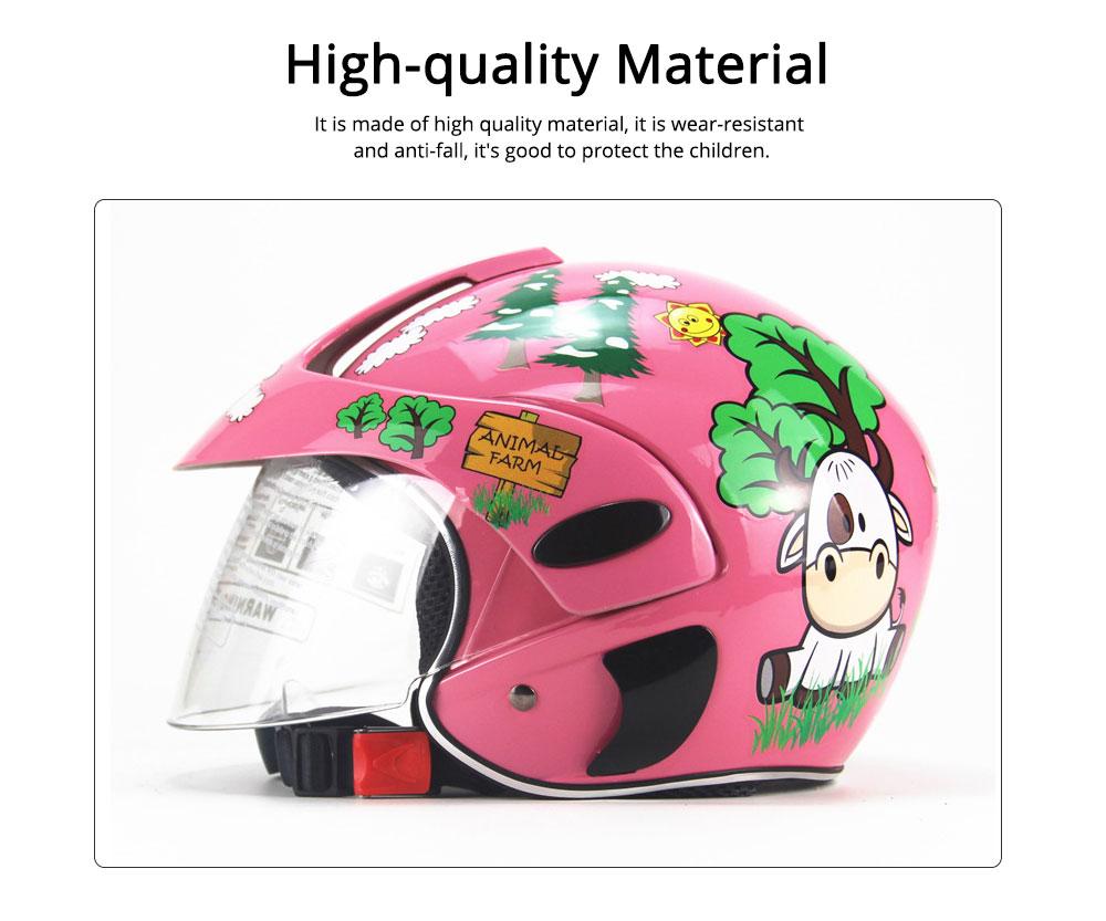 Children Half-head Helmet Cloth New Material Hat High-grade Buffer Helm Cute Cartoon Pattern Headgear Safe for Girl Boy Riding Anti-fall Cap 1