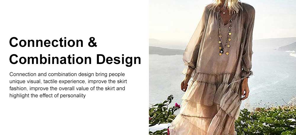 V-neck Ruffled Long-sleeve Resort Boho Dress for Vocation, Bohemian Long Dress, Lantern Sleeve Lotus Leaf Dress Hem Combination Design for Summer Autumn Dress 2019 2