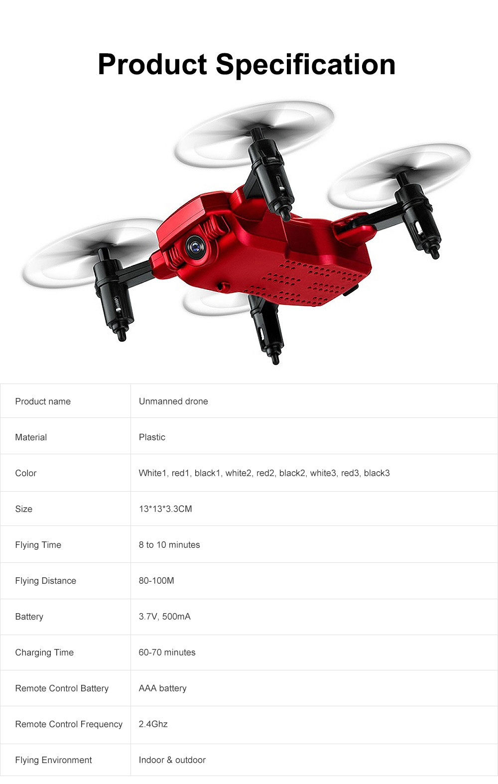 Tinkleo Mini Foldable Unmanned Drone with Quacopter HD Camera Wi-Fi Transmission Headless Mode Camera Drone 7