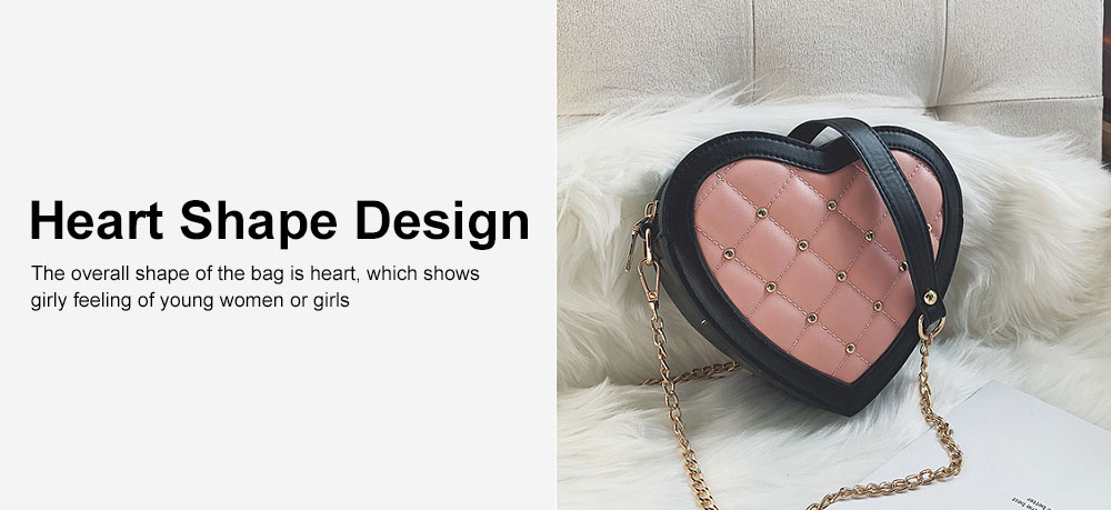 Women Heart Shape PU Leather Handbag with Metal rivet Chain Delicate Shoulder Bag for Youth Lady Girl 5