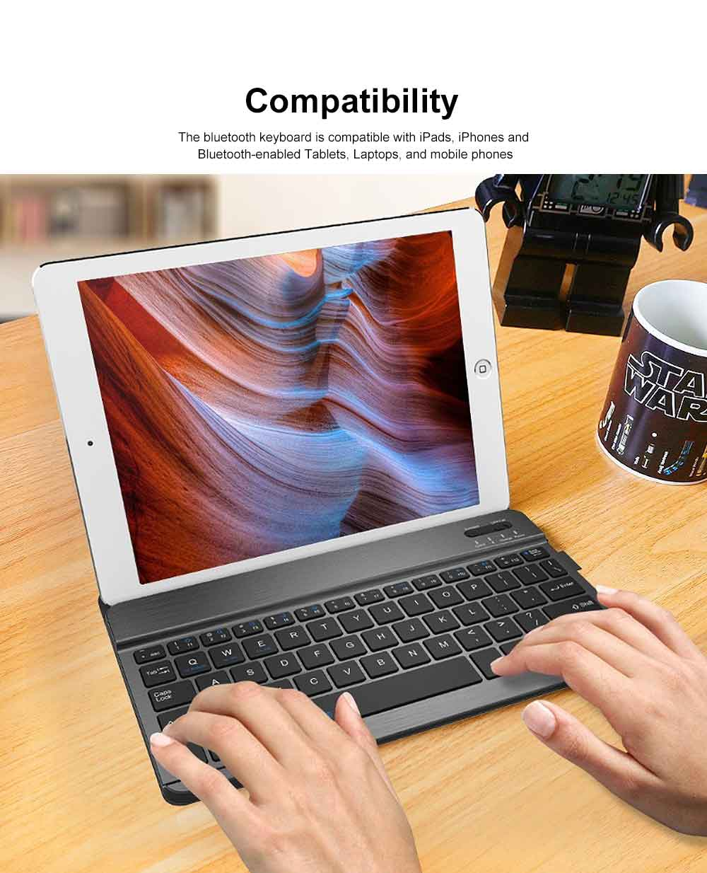 Ultra-Slim Bluetooth Keyboard Durable Plastic with Comfortable Keycap for iPad Air, iPad Mini, iPhone 1