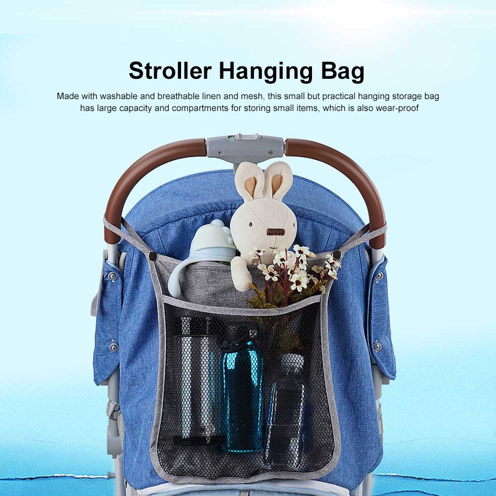 Baby Stroller Hanging Bag for Shopping, Outdoors, Multifunctional Mesh Bag with Handle Small Portable Storage Holder 0