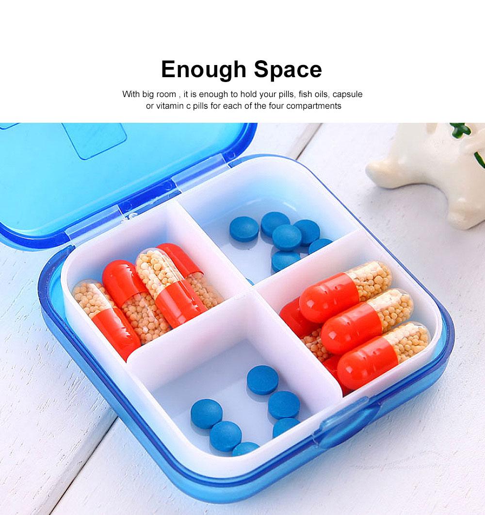 Portable Small Pill Organizer Case, Moisture-proof Pill Box for Vitamins, Fish Oil, Supplements Medication Medicine Case 3