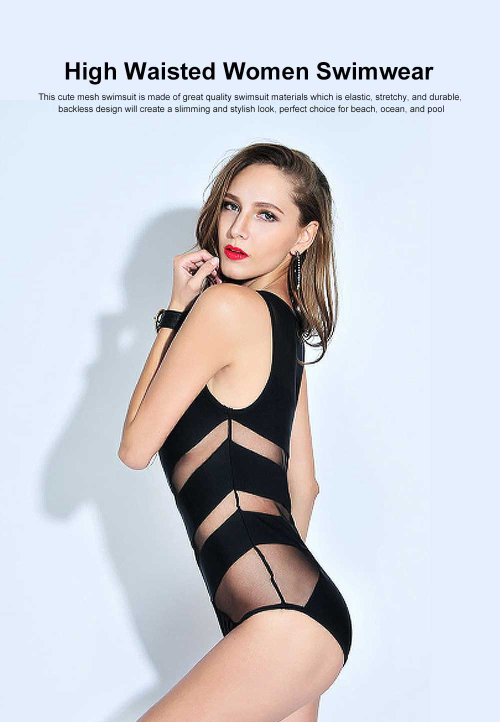 Sexy One Piece Swimsuits for Women, High Waisted Mesh Ruched Cutout Slim fit Swimwear  Beach, Ocean, and Pool 0