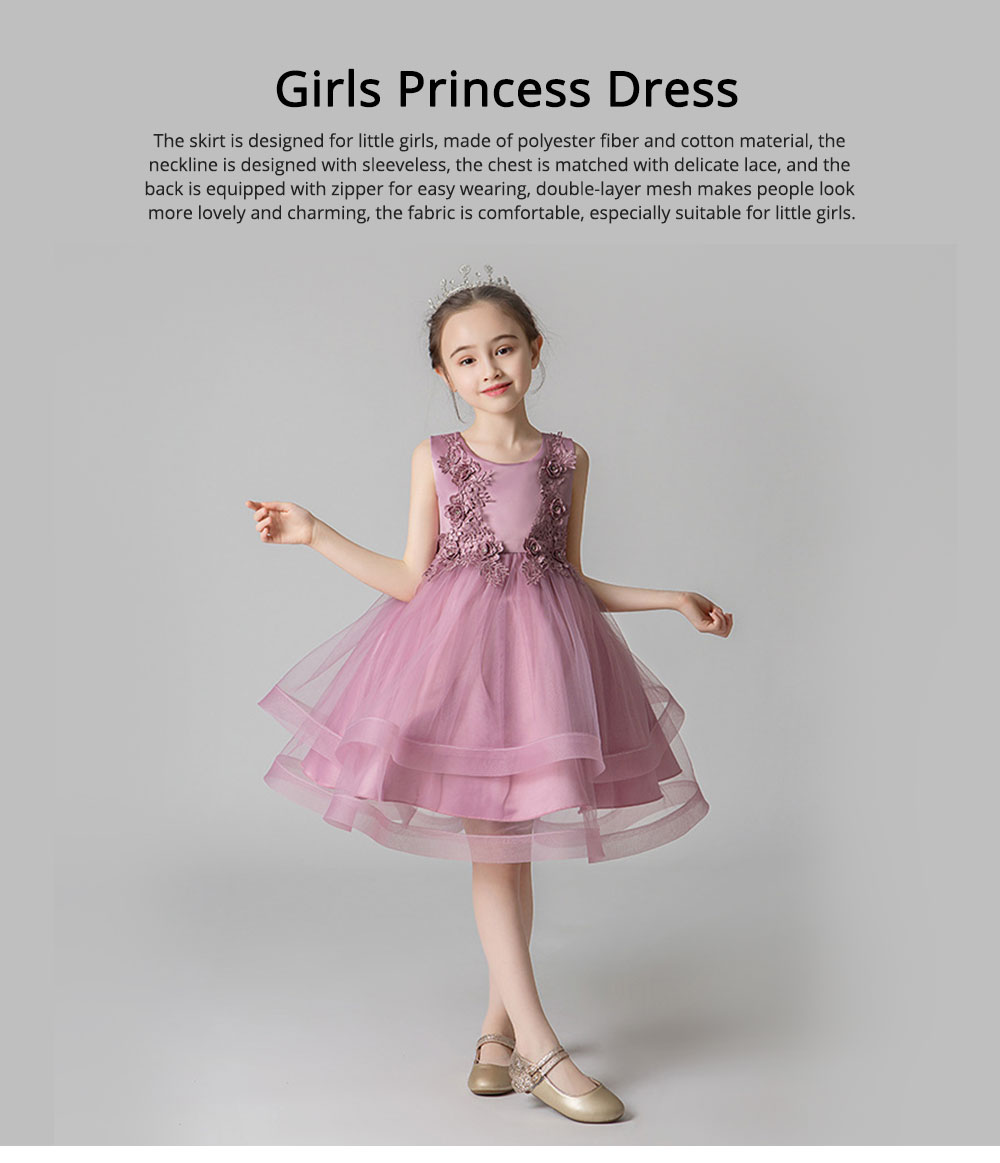 Child Evening Dress Skirt Polyester Cotton Material Round Collar Petticoat Double-layer Mesh under-dress for 3 to 8 Years Girls Spring Summer Formal Dress 0