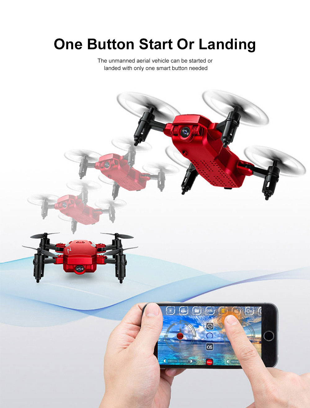 Tinkleo Mini Foldable Unmanned Drone with Quacopter HD Camera Wi-Fi Transmission Headless Mode Camera Drone 6