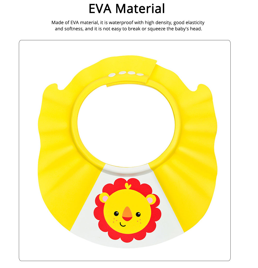 Shampoo Hat EVA Material with Telescopic Buckle, Lovable Cartoon Style Bath Hat for Children Avoiding Water, Groove Design Functional Shampoo Cap 1