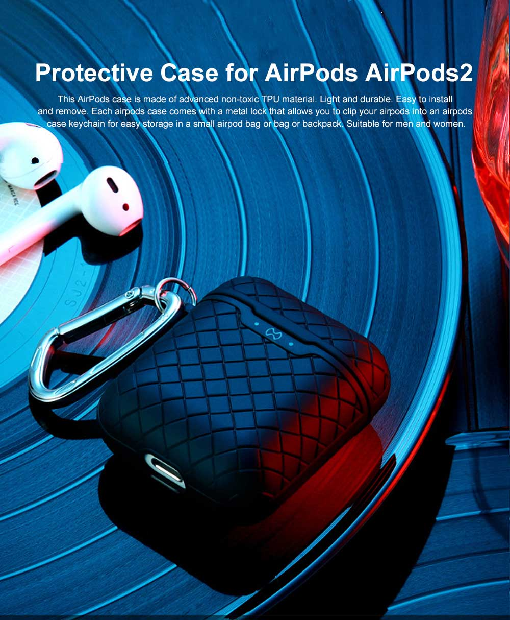 Ultra-thin Protective Case for AirPods AirPods 2, Anti-loss Bluetooth Headset Woven Case Storage Bag TPU for Men & Women 0