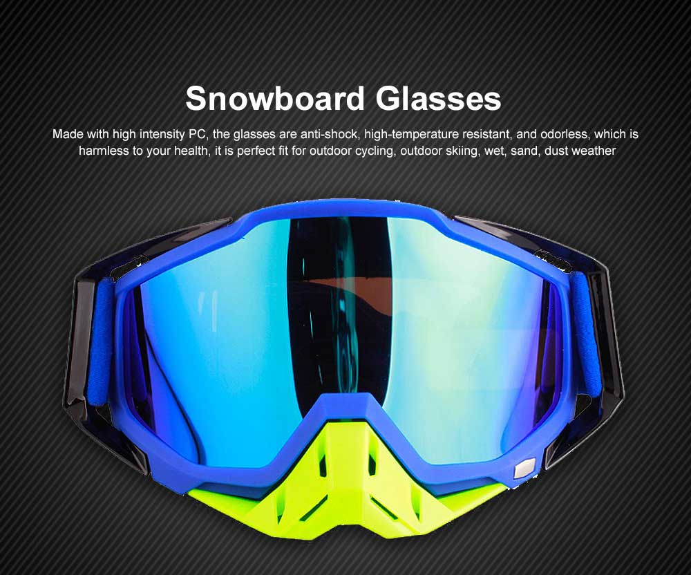 Ski Goggles Motorcycle Harley Goggle Over Glasses with Anti-Fog sand-proof mask Sport equipment Glasses Dual Interchangable Lens for Men Women 0