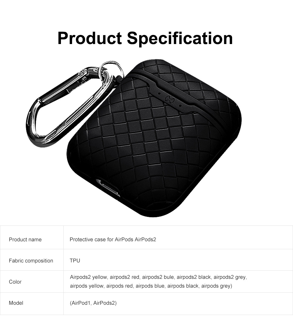 Ultra-thin Protective Case for AirPods AirPods 2, Anti-loss Bluetooth Headset Woven Case Storage Bag TPU for Men & Women 8
