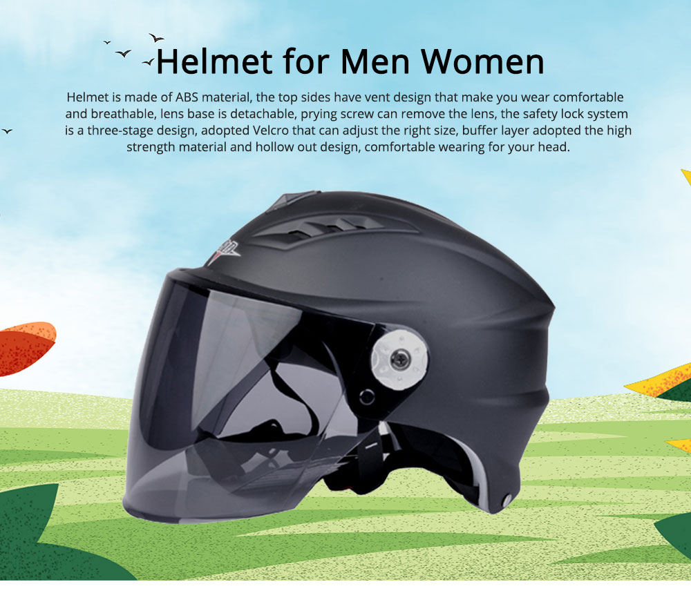 Motorcycle Helmet for Men Women Riding, ABS Material Hollow Buffer Headgear with Anti-fall Adjustable Velcro Headgear, Anti-pressure Breathable Headpiece 0
