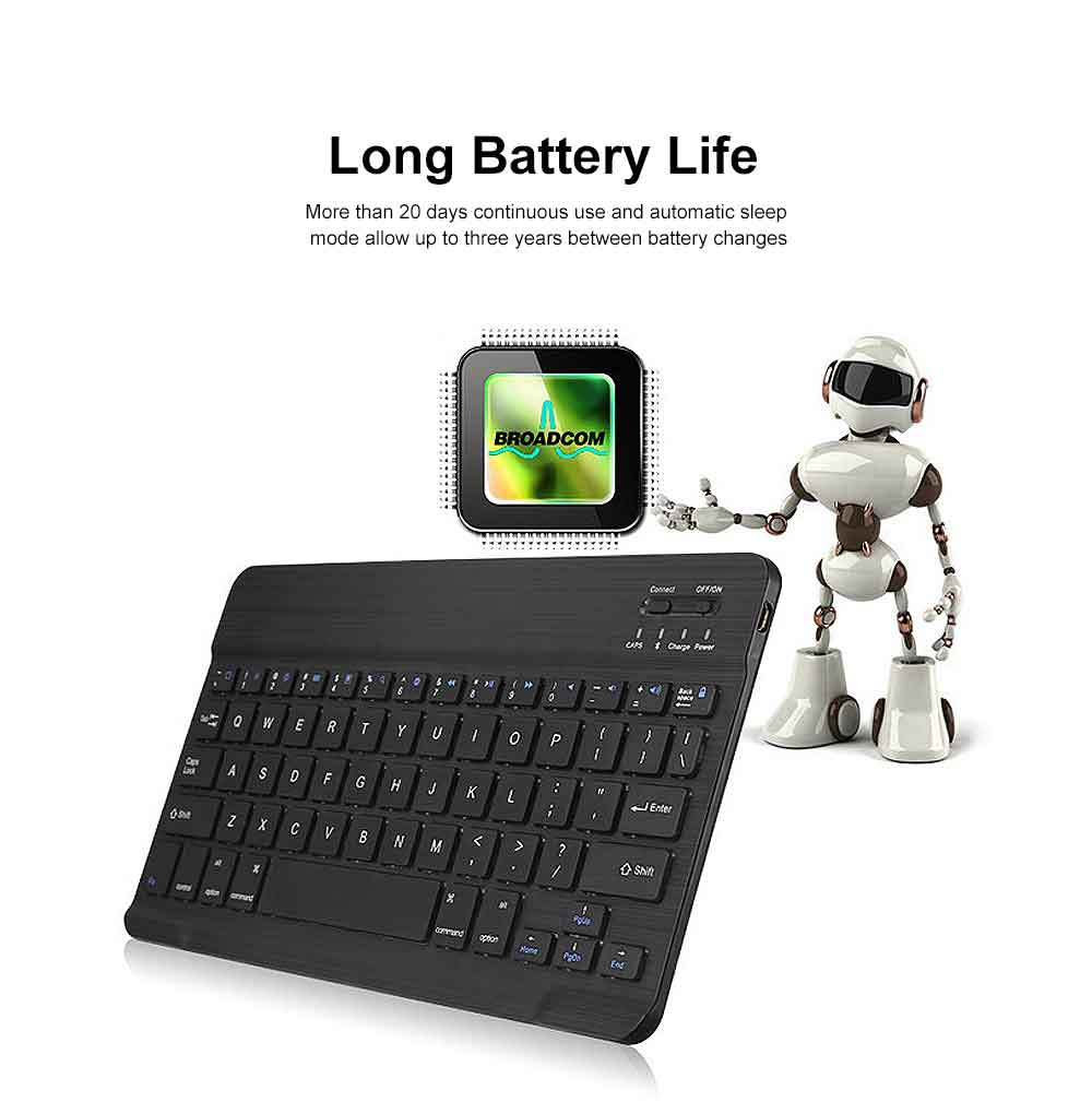 Ultra-Slim Bluetooth Keyboard Durable Plastic with Comfortable Keycap for iPad Air, iPad Mini, iPhone 2