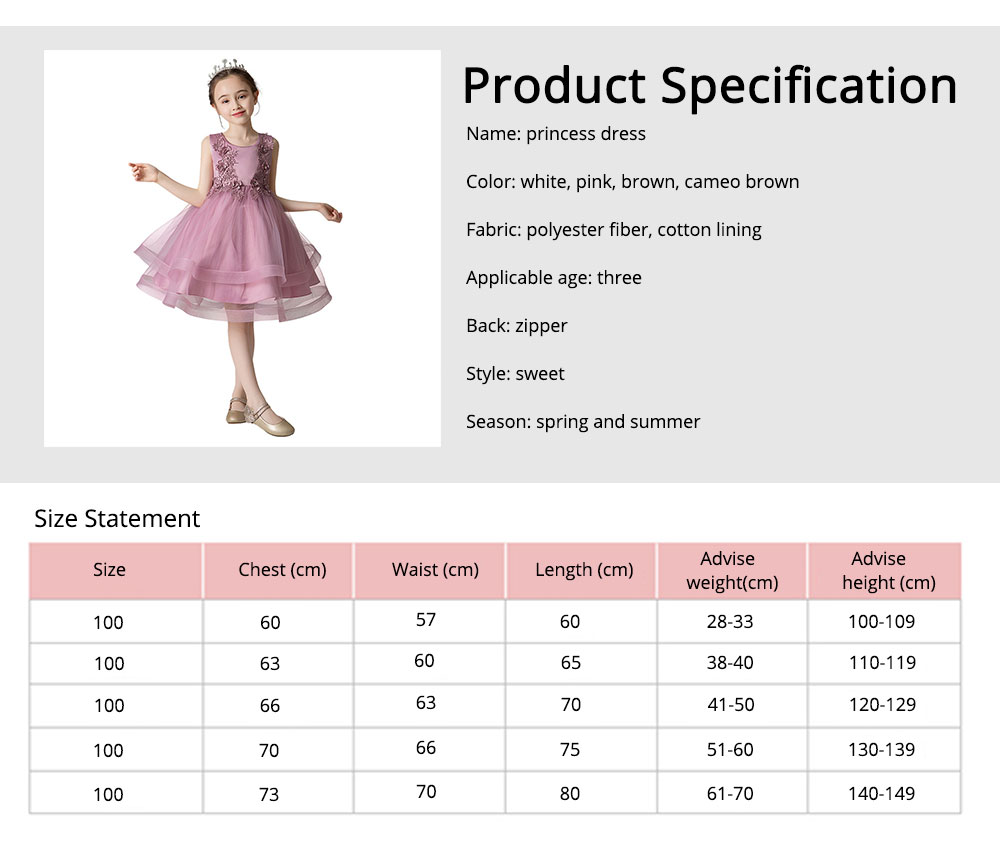 Child Evening Dress Skirt Polyester Cotton Material Round Collar Petticoat Double-layer Mesh under-dress for 3 to 8 Years Girls Spring Summer Formal Dress 7