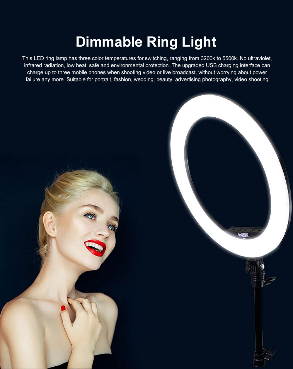 Selfie Desktop Ring Light, Dimmable Ring Light for YouTube Live Streaming, Portrait Photography, LED Round Fill Light 14 inches 0