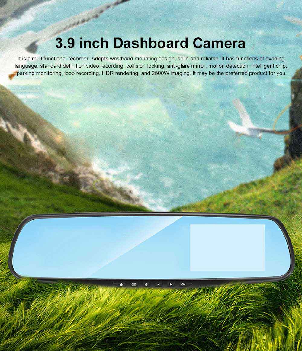 LED Automobile On-board Vehicle Data Recorder 3.9 Inch, Recorder Car Dash Cam with Gravity Sensor 32GB TF Card Included 0