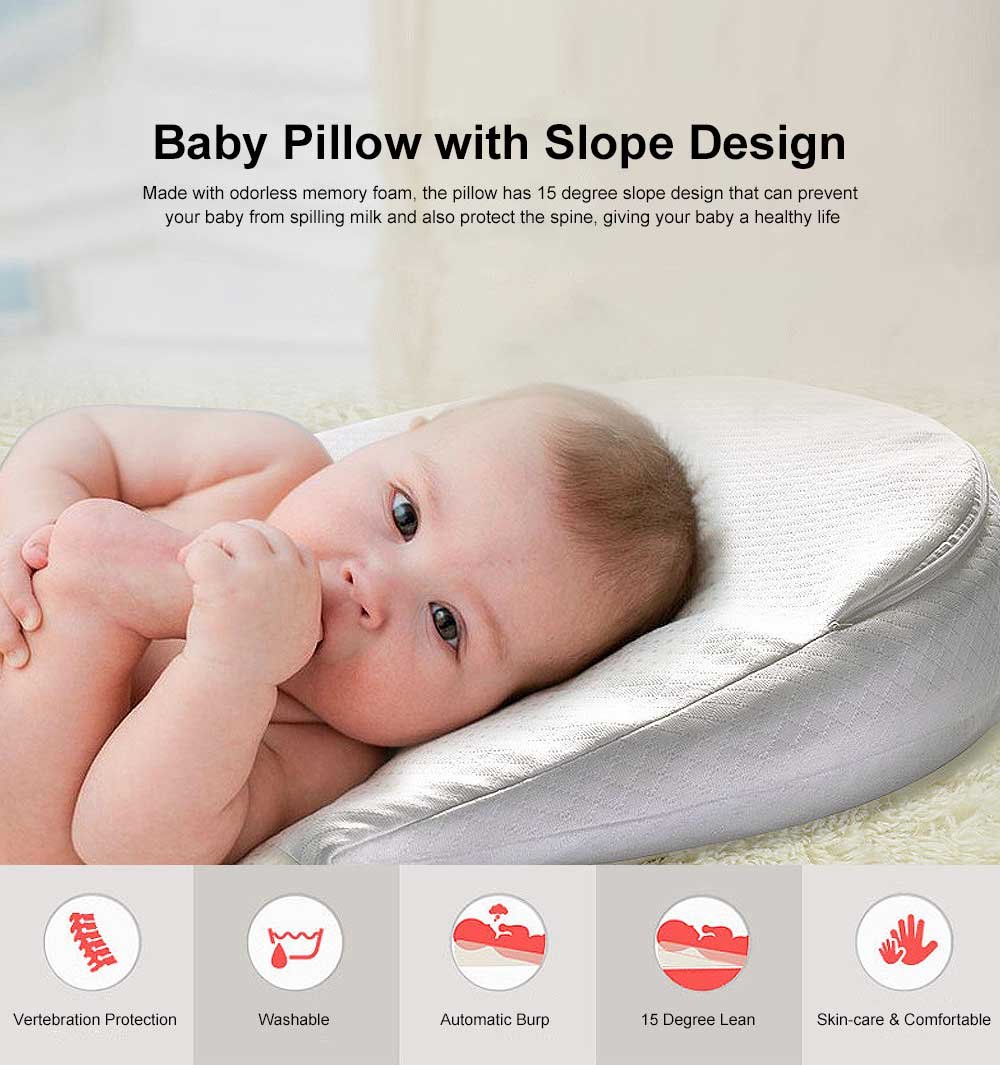 Baby Pillow with 15 Degree Slope Design Milk Spill Prevention Memory Foam Built-In Wedge Shape Newborn feeding Pillow Waterproof Cover 0