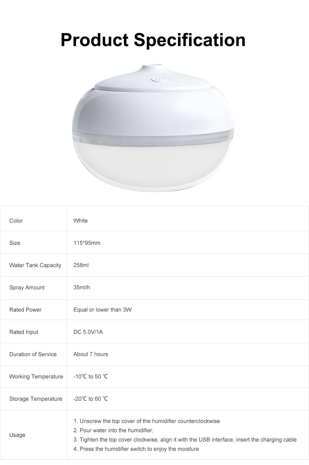 USB Mini Desktop Air Atomizer, Incense Humidifier, Night Light 7 Colors 258ml Mini Humidifiers Desktop 6