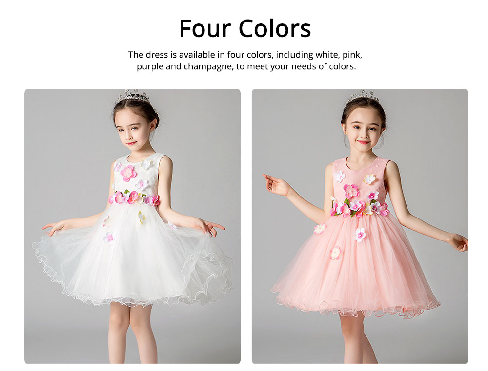 Girl Formal Dress, Polyester Cotton Material Sleeveless Fluffy Skirt with Round Collar, Under-dress, One-piece Dress for Three to Ten Years Girls in Summer Petticoat 2