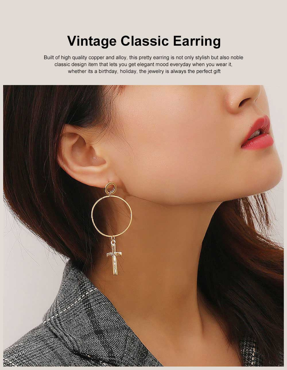 Copper Cross Pendant Earring, Gold Plated Retro Circle Vintage Layered Jewelry for Women 0