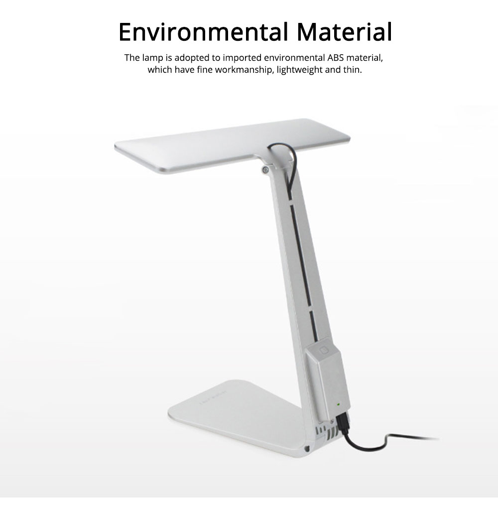 Folding Stylish Desk LED Lamp Ultra Slim ABS Rubber Material Folding Lamp Long Stand by Anti-paint Light USB Rechargeable LED Light for Student Dormitory 4
