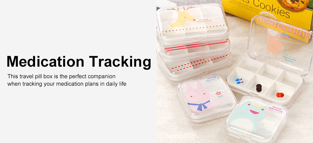 Transparent Pill Organizer Box with Cartoon Pattern, 6 Compartments Travel Medication Container, Daily Pillbox Dispenser 5