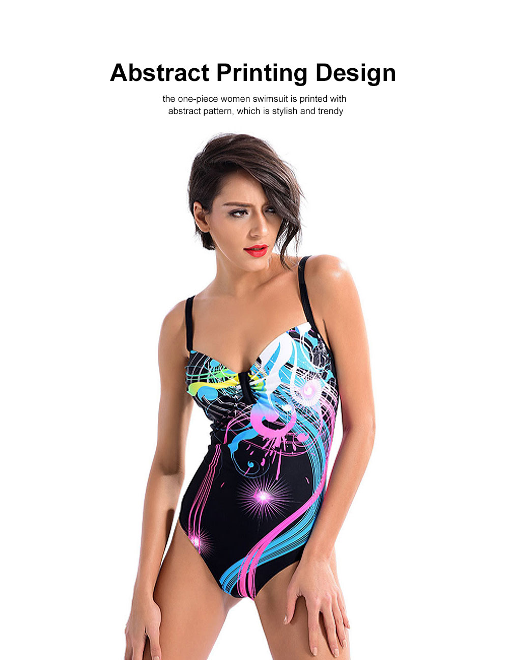 One-Piece Swimsuit with Triangle Pant, Plus Size Beach Wearing Suit for Spring SPA 2019 Summer Slim Women Bikini 1