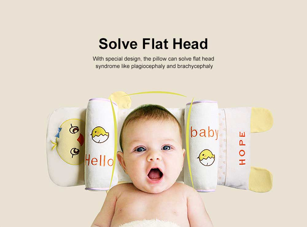 Delicate Baby Pillow with Cute Animal Pattern, Flat Head Prevention Baby Pillow, Four Layered Design 16 cm Adjustment Removable Baby Pillow 1