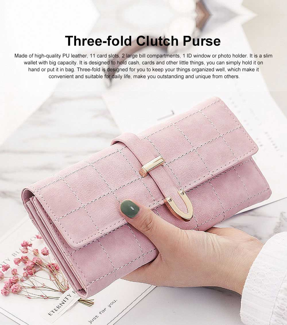 Multi-function Soft Women Purse with Buckle, Fashion Ladies Casual Clutch Bag, Frosted Three-fold Long Purse for Women Girl Lady 0