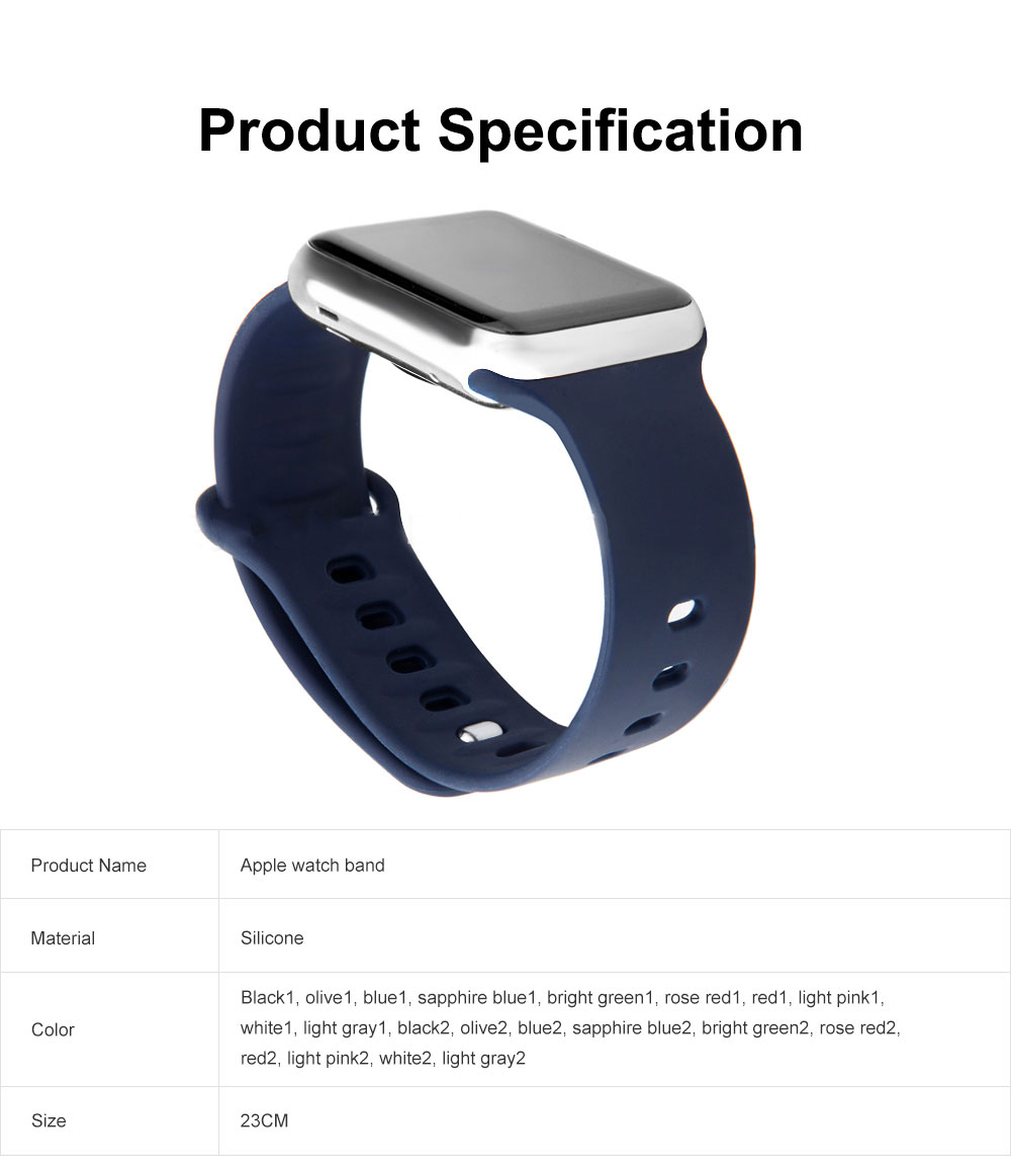 Thin Watch Band Soft Silicone Sport Bands Replacement Strap Compatible with Apple Watch 42mm 38mm 6