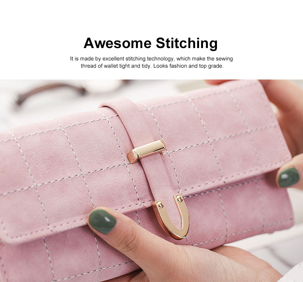Multi-function Soft Women Purse with Buckle, Fashion Ladies Casual Clutch Bag, Frosted Three-fold Long Purse for Women Girl Lady 2