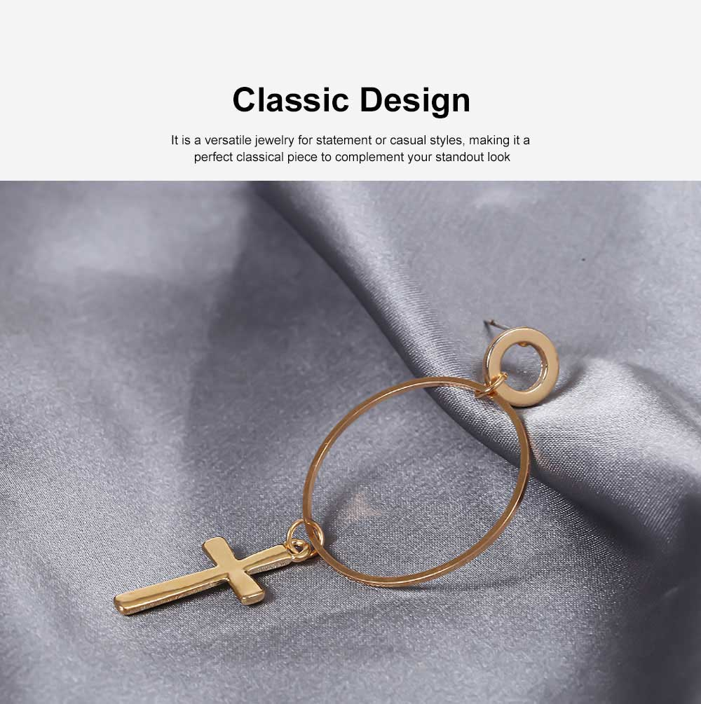 Copper Cross Pendant Earring, Gold Plated Retro Circle Vintage Layered Jewelry for Women 2