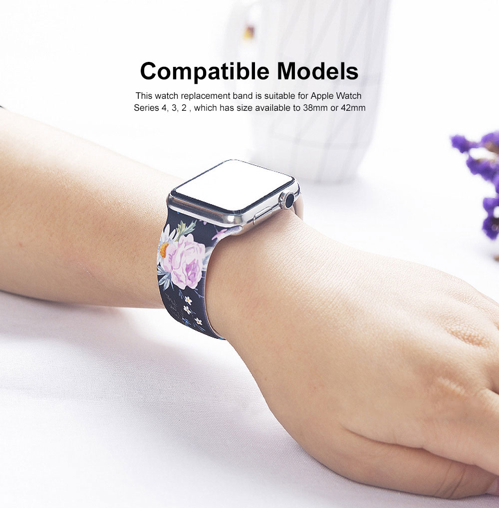Floral Pattern Band for Women Men, Soft Silicone Watch Strap for Apple Watch Series 38 42 Replacement Strap  1