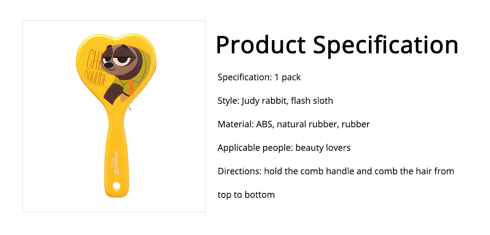 Portable Hair Comb ABS Rubber Material with Cartoon Pattern Curling Hair Comb, Heart Shape Girl Head Massage Tool, Lovable Air Cushion Comb 6