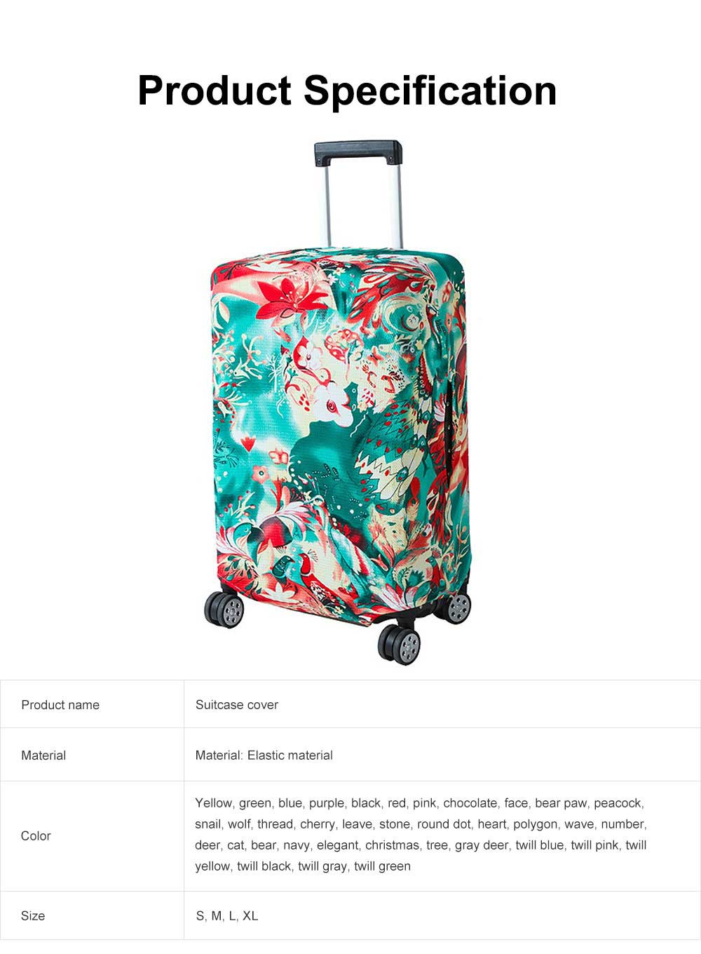 Luggage Cover Protective Washable Suitcase Cover Travel Elastic Suitcase Protector Case 6