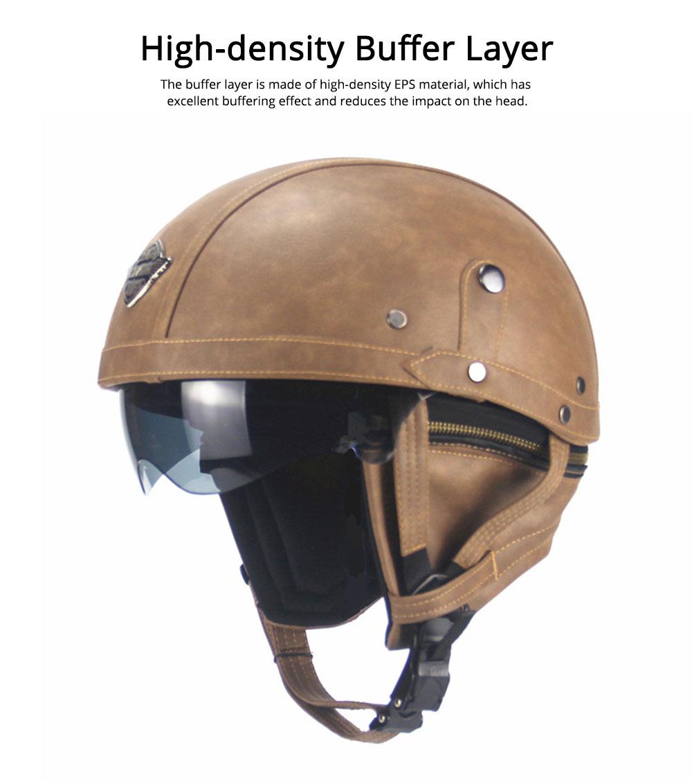 Half-head Helmet ABS PU Material Breathable Buffer Helm Moisture Absorption Headgear Safe for Harley Riding for Men Women Anti-ultraviolet Cap Anti-glare Headpiece Safe Hat 2