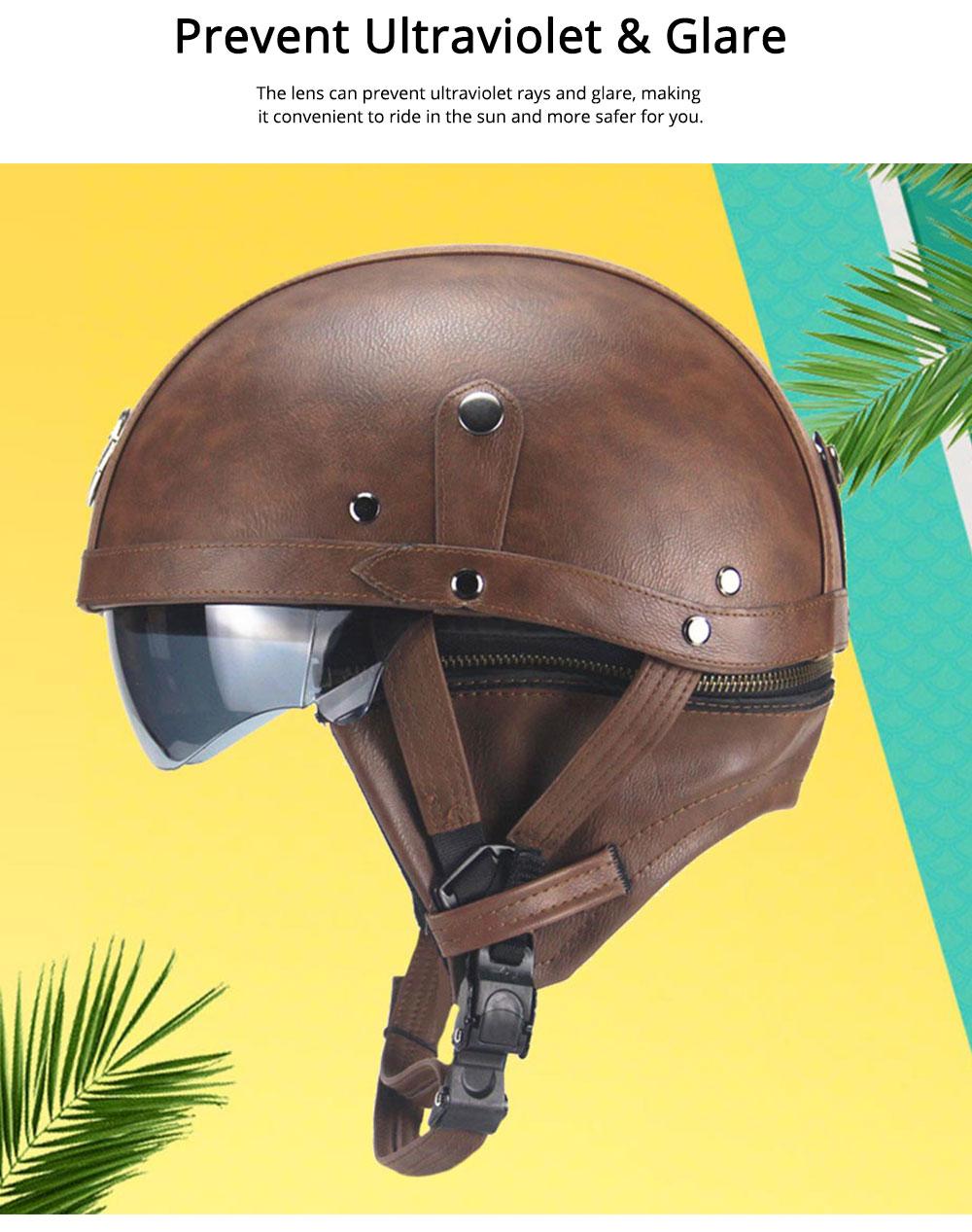 Half-head Helmet ABS PU Material Breathable Buffer Helm Moisture Absorption Headgear Safe for Harley Riding for Men Women Anti-ultraviolet Cap Anti-glare Headpiece Safe Hat 5
