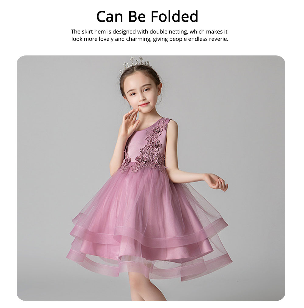 Child Evening Dress Skirt Polyester Cotton Material Round Collar Petticoat Double-layer Mesh under-dress for 3 to 8 Years Girls Spring Summer Formal Dress 3