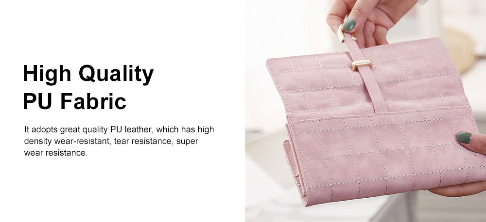Multi-function Soft Women Purse with Buckle, Fashion Ladies Casual Clutch Bag, Frosted Three-fold Long Purse for Women Girl Lady 3