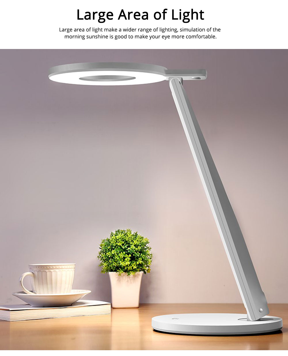 Led Desk Lamp ABS Material Adjustable Brightness Colors Large Light Area Touching Switch Light USB Rechargeable Folding Lamp 2