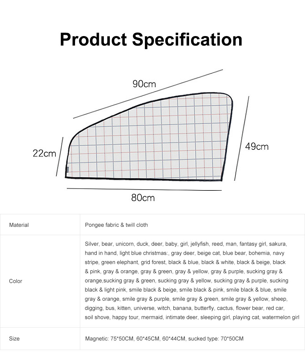 Stylish Car Window Sunshade Sunscreen with Different Patterns and Colors Compatible with All Cars Car Window Sunshade 6