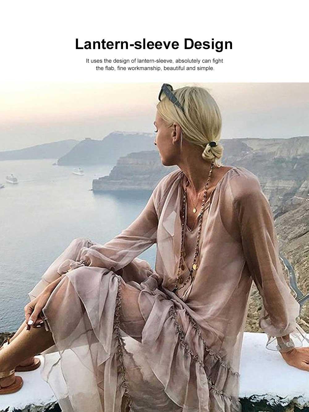 V-neck Ruffled Long-sleeve Resort Boho Dress for Vocation, Bohemian Long Dress, Lantern Sleeve Lotus Leaf Dress Hem Combination Design for Summer Autumn Dress 2019 1