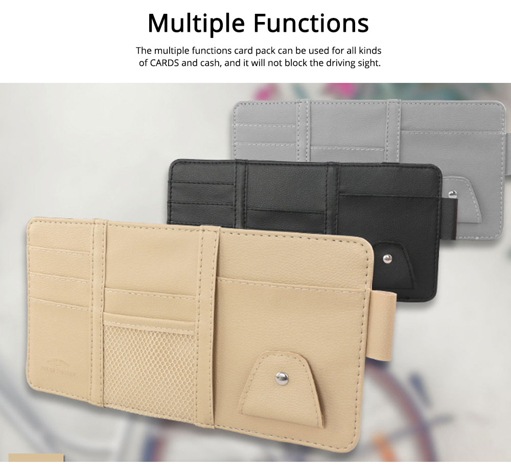 Card Bag PU Leather Material with Pockets Elastics Straps Collection for Store Cards Cash on Sun Shade of Car Storage Bag 5