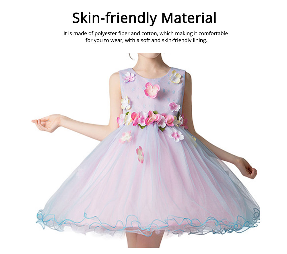 Girl Formal Dress, Polyester Cotton Material Sleeveless Fluffy Skirt with Round Collar, Under-dress, One-piece Dress for Three to Ten Years Girls in Summer Petticoat 1