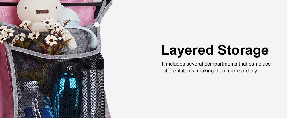 Baby Stroller Hanging Bag for Shopping, Outdoors, Multifunctional Mesh Bag with Handle Small Portable Storage Holder 5
