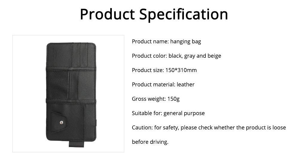 Card Bag PU Leather Material with Pockets Elastics Straps Collection for Store Cards Cash on Sun Shade of Car Storage Bag 6
